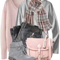 casual pink and grey fall outfit combination outfitspedia