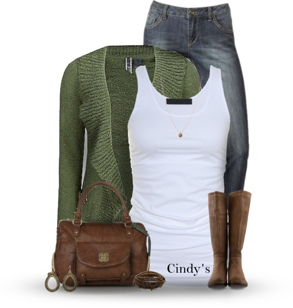 cute simple fall outfit with ruffle cardigan and boots outfitspedia