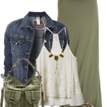 olive casual maxi skirt with denim jacket casual outfit outfitspedia