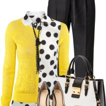 stylish casual work outfit with polka dots shirt and yellow cardigan outfitspedia