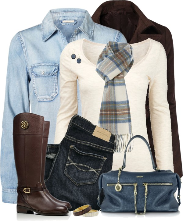 Brown, Blue, Plaid Fall Outfit Outfitspedia