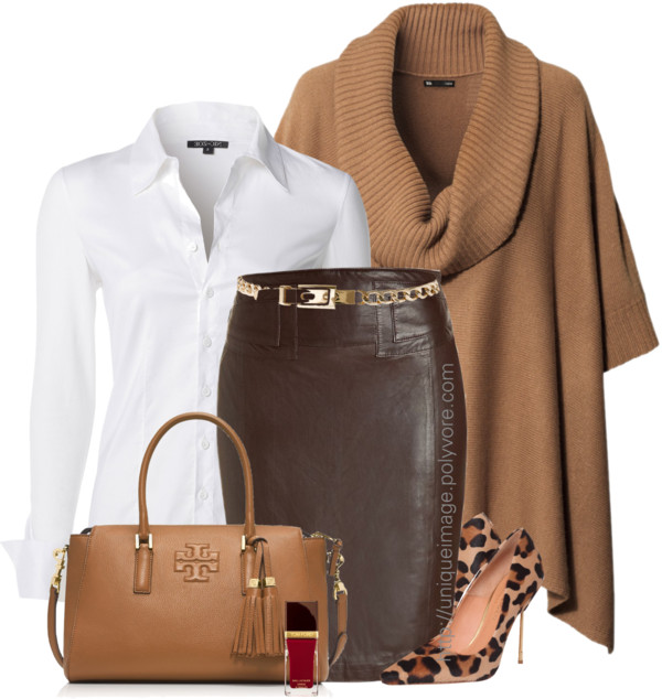 Brown Poncho Pencil Skirt Leopard Pumps Work Outfit Outfitspedia