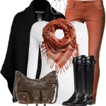 Cashmere Chunky Cable Poncho Fall Outfit