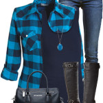 Casual Blue Plaid Shirt Fall Outfit