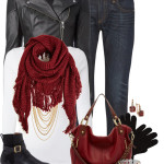 Casual Hot Red Fringe Scarf Fall Outfit