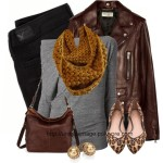 Casual Leather Jacket With Mustard Scarf Fall Outfit