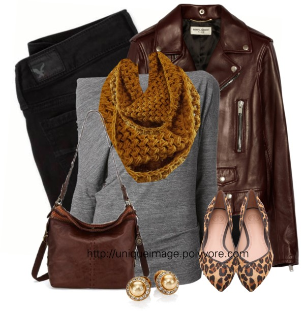 Casual Leather Jacket With Mustard Scarf Fall Outfit Outfitspedia