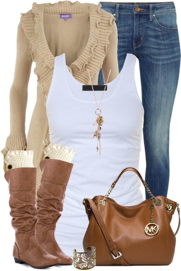 Casual Long Stone Ruffle Cardigan Fall Outfit Outfitspedia