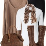 Casual V Neck Sweater With Blouse and Boots Fall Outfit