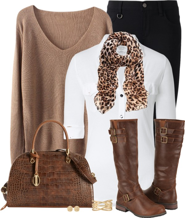 Casual V Neck Sweater With Blouse and Boots Fall Outfit Outfitspedia
