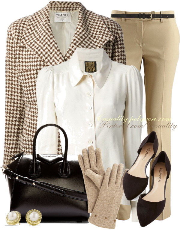 Classy Vintage Cream Brown Fall Work Outfit Outfitspedia