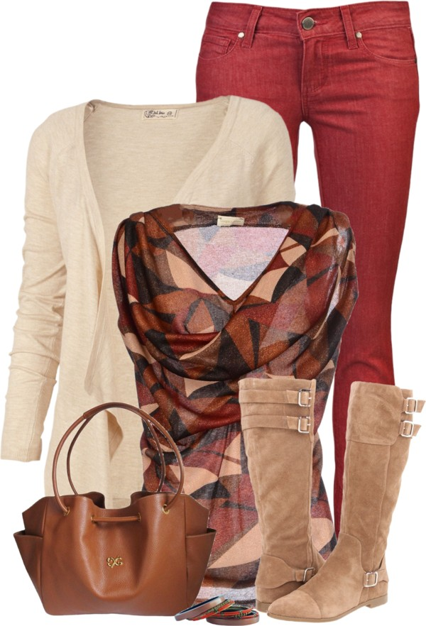 Color Jeans and boots fall outfit idea outfitspedia