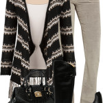 Stripe Open Front Fringe Cardigan Fall Outfit
