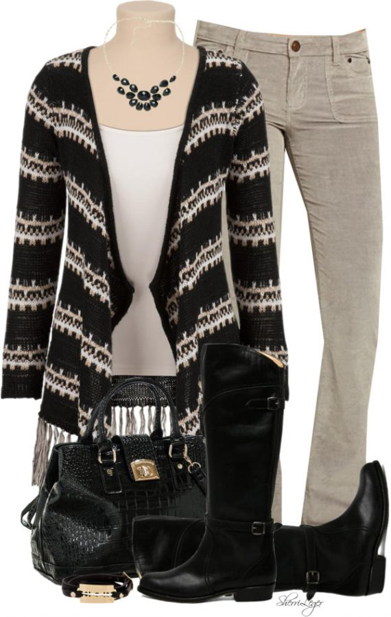 Striped open front Fringe Cardigan Fall Outfit Outfitspedia