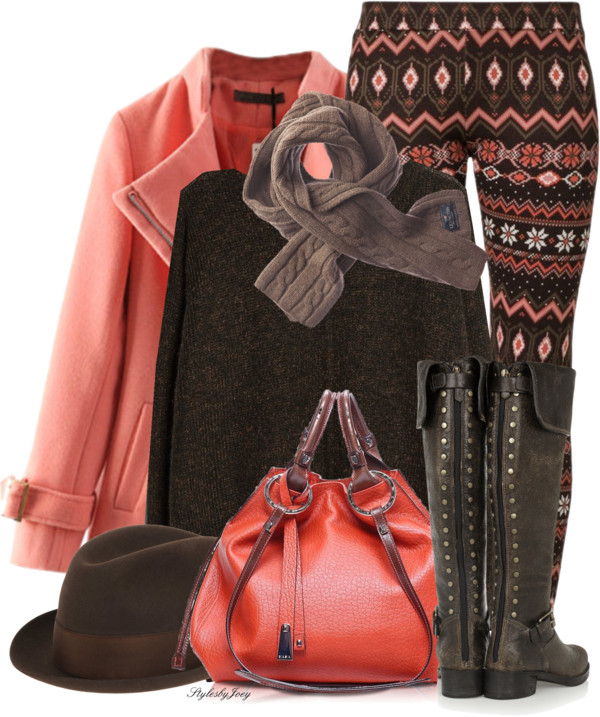 Great Color Combo Printed Winter Legging Outfit Outfitspedia