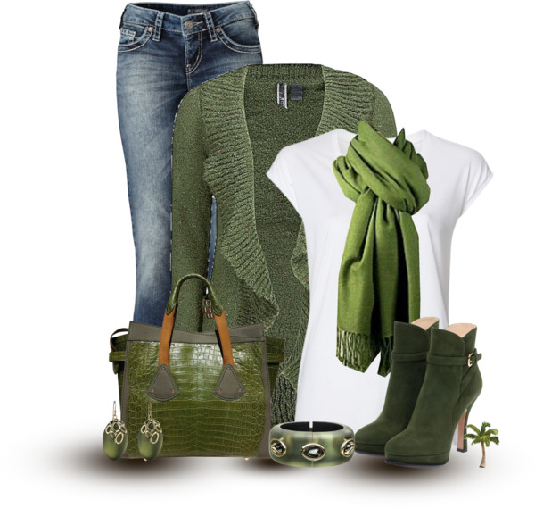 Green Ruffle Cardigan Casual Fall Outfit Outfitspedia