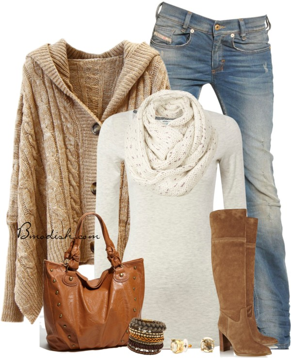 Hooded Oversize Cardigan Casual Fall Outfit Outfitspedia