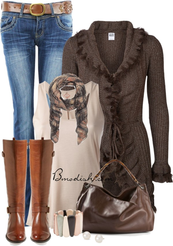 Long Frilled Knitted Cardigan Fall Outfit Outfitspedia