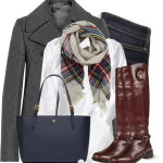 Navy Blue, Gray & Plaid Fall Work Outfit