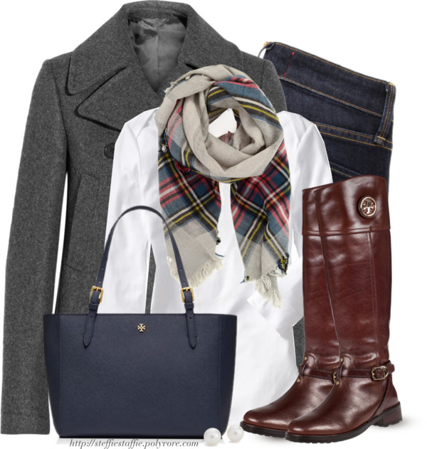 Navy Blue, Gray & Plaid Fall Work Outfit outfitspedia