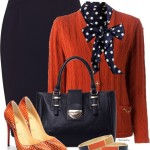 Navy Polka Dots and Orange Cardigan Work Outfit