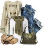 Olive Green Aztec Oversize Cardigan Fall Outfit