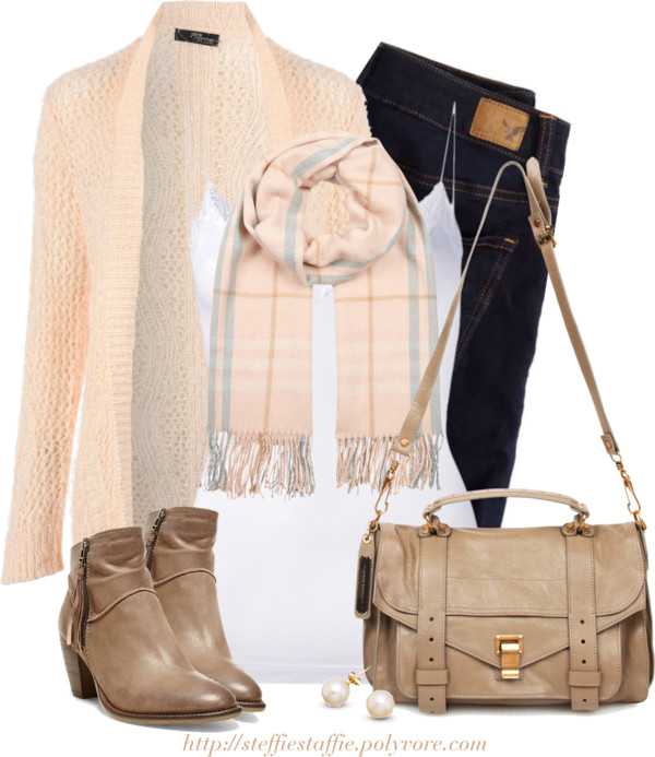 Peach cardigan casual fall spring outfit outfitspedia
