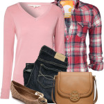 Pink V Neck Jumper Casual Outfit