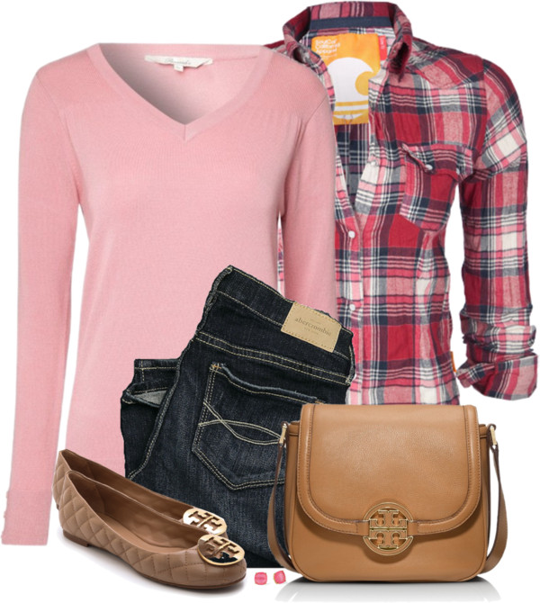 Pink V Neck Jumper Casual Outfit Outfitspedia