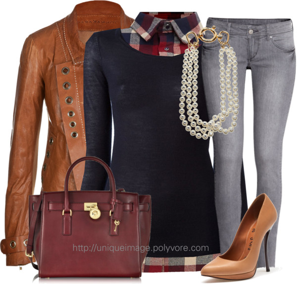 Plaid Shirt With Grey Jeans Casual Fall Outfit Outfitspedia