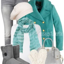 Pretty Turquoise Peacoat Winter Outfit Outfitspedia