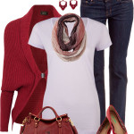 Red Blend Shrug Casual Outfit