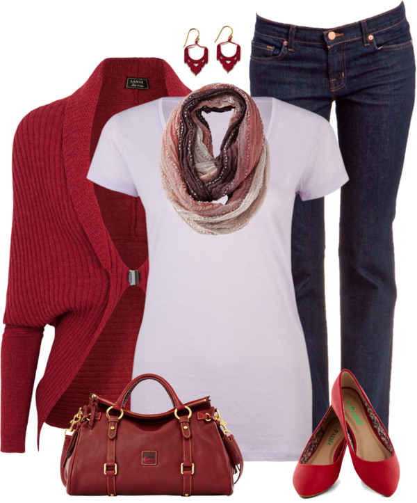 Red Blend Shrug Casual Outfit Outfitspedia