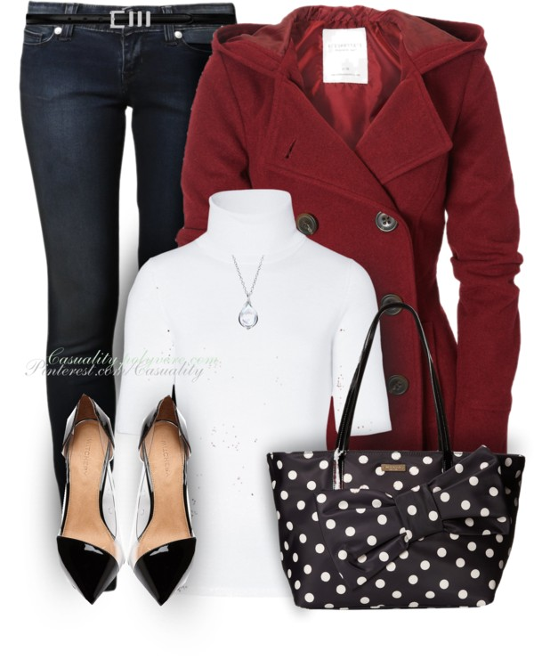 Red Hot Coat Kate Spade And Levi's Outfit Outfitspedia