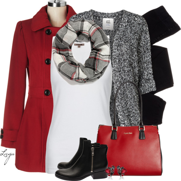 Red Pea Coat and Black Fall Outfit Combination Outfitspedia