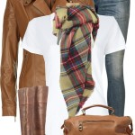 Simple Plaid Scarf Fall Outfit Combination