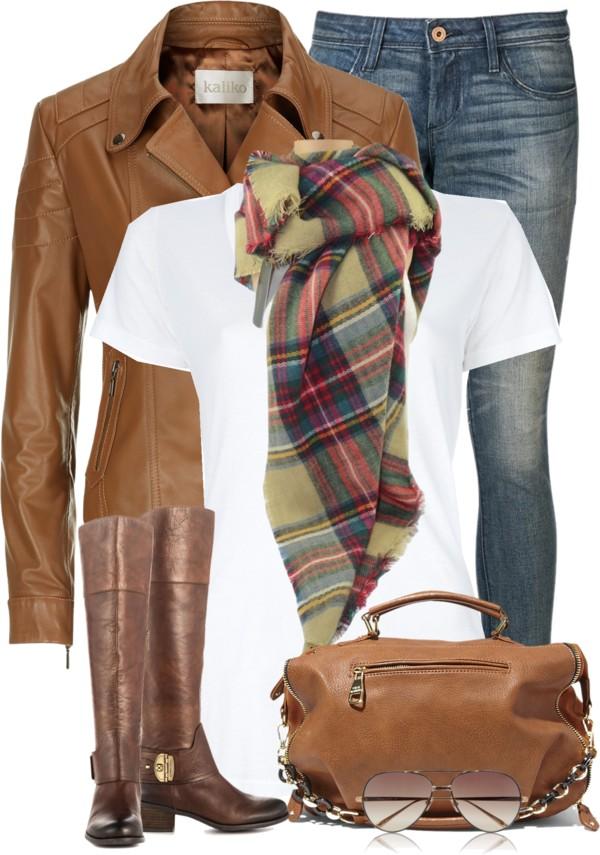Simple Plaid Scarf Fall Outfit Idea Outfitspedia