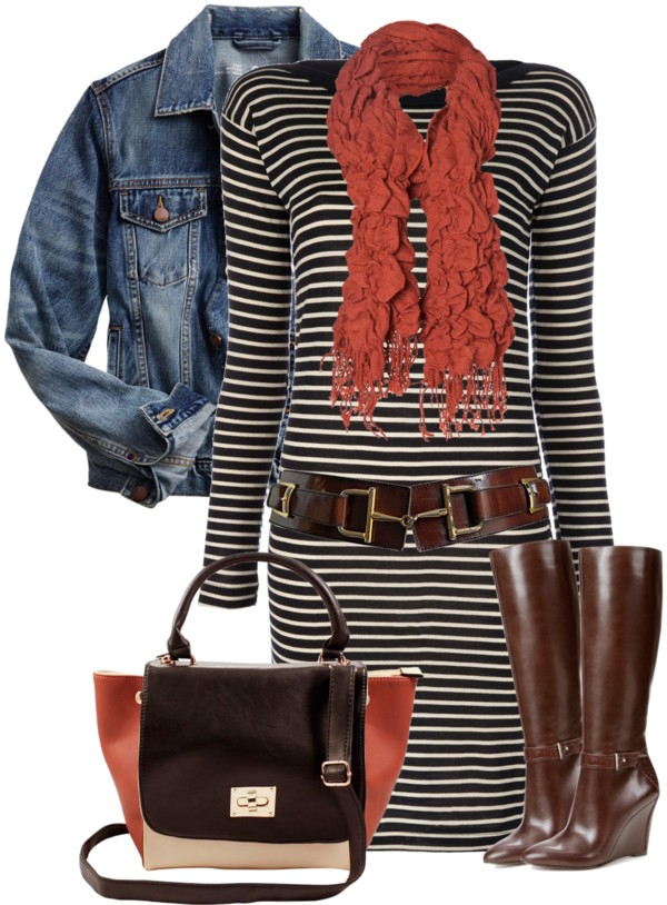 Striped Sweater Dress Fall Outfit Outfitspedia