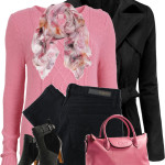 Pink Sweater and Scarf Fall Outfit