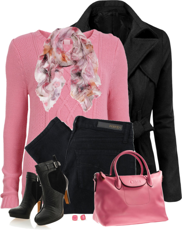 black and pink sweater and scarf outfitspedia