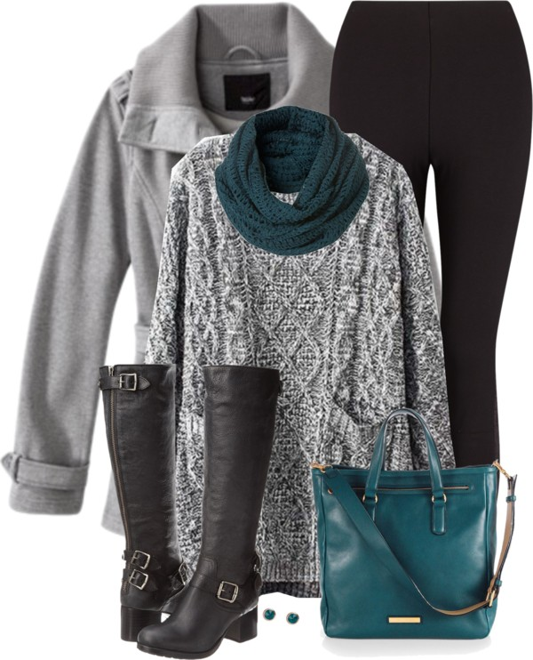 black leggings and cozy sweater fall outfit outfitspedia