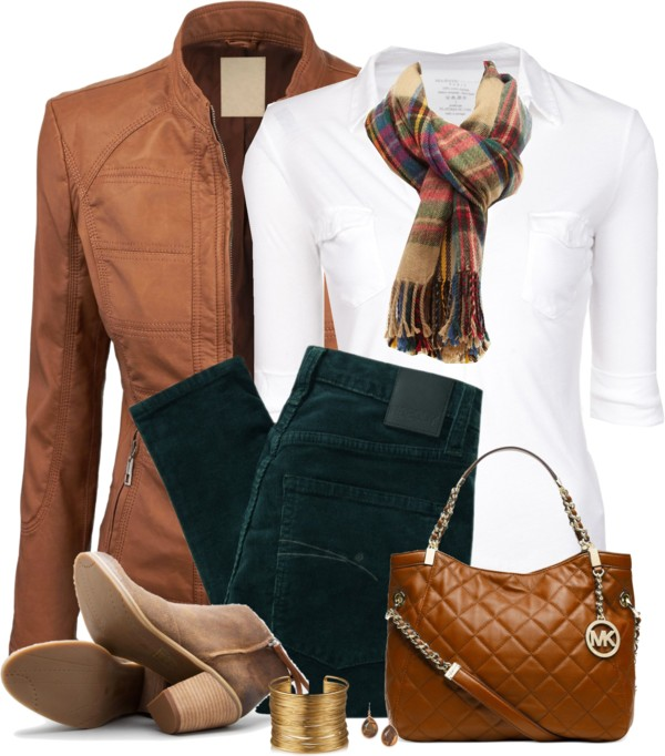 brown leather jacket casual fall outfit outfitspedia