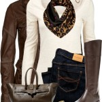 Long Sleeve Top With Leather Jacket Casual Fall Outfit