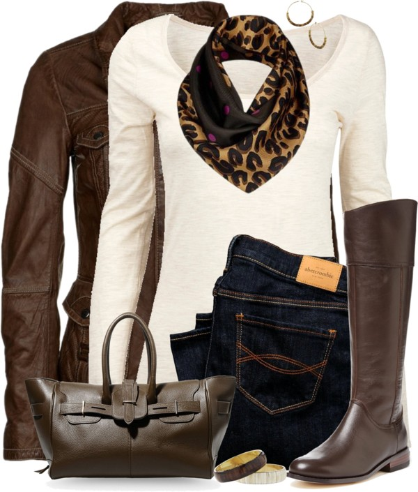 brown leather jacket with long sleeve top casual fall outfit outfitspedia