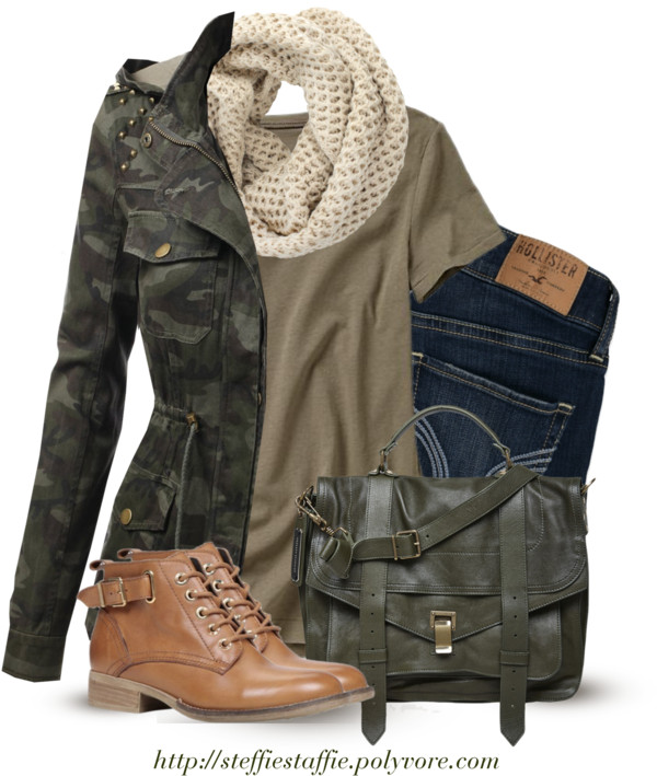 camo jacket, knit scarf and green satchel bag outfitspedia
