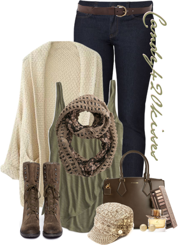 casual cozy fall outfit with olive green tank top and oversize cardigan outfitspedia