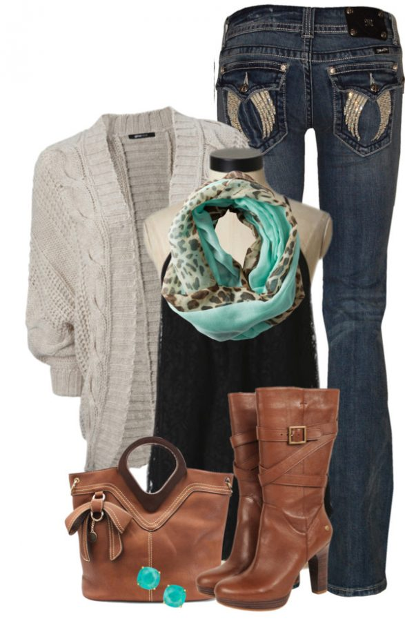 casual cozy fall outfit with tank top, cardigan and boots outfitspedia