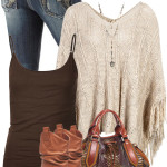 Tassel Poncho Casual Boho Outfit