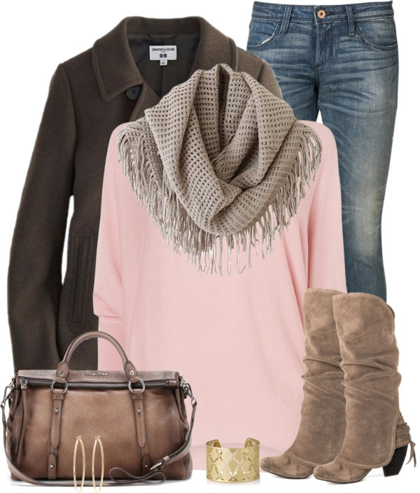 cute fall outfit with pink jumper outfitspedia