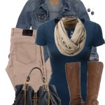 Khaki Jeans and T Shirt Casual Fall Outfit